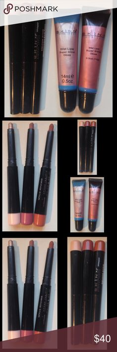 Skinn Cosmetics by Dimitri James 5-pc Lip/Eye Set SKINN Cosmetics by Dimitri James 5-piece lip and  eye set includes 3 'Waterproof Eye and Lip Pencil Smudge Sticks' in 3 neutral shades and 2 versatile shades of 'Wet Lips Super Shine Lip Gloss'.  Lightly swatched/used but mostly in like new condition!  No trades at this time. Skinn Makeup