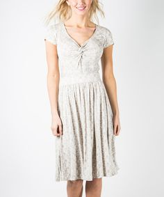 Another great find on #zulily! Gray Lace-Print You Can Can Dress by DownEast Basics #zulilyfinds