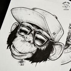 Macaco blackwork tattoo churus savioli