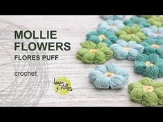 Tutorial Mollie Flowers o Flores Puff Crochet o Ganchillo Español - YouTube