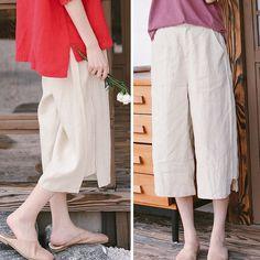Women Beige Linen Summer Casual Pants Loose Thin Trousers K9523 Beige Style, Pants For Women, Clothes For Women, Type Of Pants, Summer Pants, Linen Pants, Casual Pants, Trousers