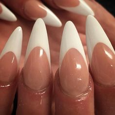 Stiletto white french tips on gel gloss.  by thenailbarsydney http://ift.tt/1NRMbNv