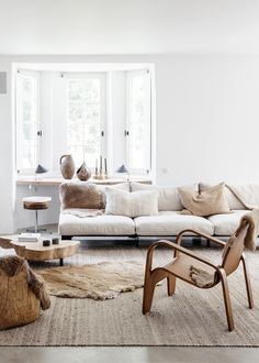 House Tour :: This Belgian Home Is The Perfect Cozy, Clean Slate for Winter - coco kelley - layered furs and whites in this cozy living room + scandi decor - Living Room Scandinavian, Modern Farmhouse Living Room Decor, Cozy Living Rooms, Living Room Interior, Living Room Furniture, Scandinavian Style, Apartment Living, Scandinavian Interior, Living Room Designs