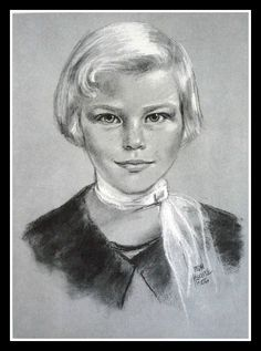 Charcoal drawing of Susan Keane by Margaret Keane, 1956