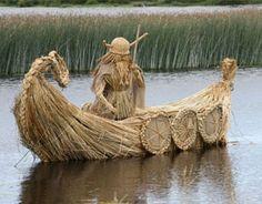 Rushwork sculpture by Gerardine Wisdom from Terryglass, Ireland Straw Art, The Last Straw, Weaving Art, Basket Weaving, Sculpture, Outdoor Decor, Ireland, Wisdom, Image