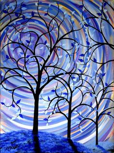 Large Fantasy Tree Painting Contemporary Abstract on Canvas Surreal Silhouette Purple Blue Moon 18x24 JMichael on Etsy, $89.00