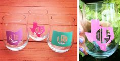 Monogrammed State Wine Glasses | Jane