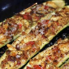 Stuffed Zucchini with bacon and onions
