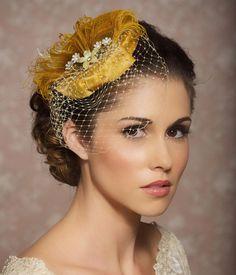 Mustard Yellow Bridal Hat, Bridal Head Piece, Fascinator, Vintage Pillbox, Hat with Veil, Birdcage Veil - MARIANNE via Etsy.