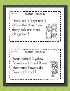 Math Task Cards for First Graders Freebie - Word Problems.  This set of 10 task cards will help your students better understand addition within 10 to solve word problems. Task cards are a fun way for kids to practice key skills without being overwhelmed by so many problems on a worksheet, perfect for students with autism.  Download at:  https://www.teacherspayteachers.com/Product/Math-Task-Cards-for-First-Graders-Freebie-Word-Problems-841347