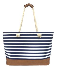 Nautical navy beach bag Blue & White Stripe Tote