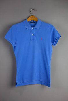 ab074e126 Ralph Lauren Polo Shirt Blue Womens Ladies Size L Large 12 14 Slim Fit Slim