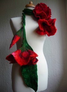 felted scarf necklace flower, felted flower necklace, felted wool, art to wear scarf, lariat, red, made to order,lagenlook,  custom order. £65.00, via Etsy.
