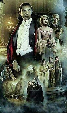 Universal Classic Monsters Poster Art : Dracula 1931 by Gerardo Moreno Retro Horror, Horror Icons, Horror Movie Posters, Vintage Horror, Classic Monster Movies, Classic Horror Movies, Classic Monsters, The Frankenstein, Horror Artwork