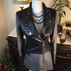 "Alexander McQueen Black Leather & Gray Jacket Alexander McQueen Chic Black Leather & Gray Jacket  Stunning Jacket with Cool & Edgy Zippers  In excellent condition! Measures 28"" Length / 25"" Sleeve Alexander McQueen Jackets & Coats Blazers"