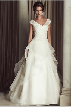 Modest Lace And Organza A Line V Neck Open Back White Wedding Dresses With Trains - CXCIX.com