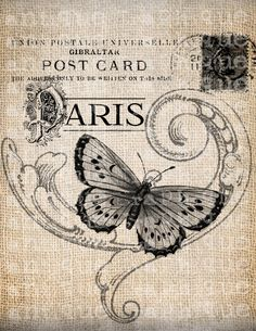 Antique French Butterfly Paris Postmark Digital Download for Tea Towels, Papercrafts, Transfer, Pillows, etc Burlap No 3305. $1.00, via Etsy.