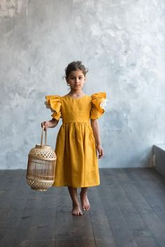 Mustard linen dress for girl with flutter sleeve girls linen | Etsy