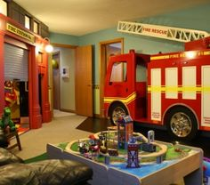 Firefighter room decor full size of bed fire truck bedroom station kid ideas themed toddler bedding . Firefighter Bedroom, Firefighter Baby, Fire Truck Bedroom, Truck Room, Fire Kids, Toy Rooms, Kids Corner, Baby Boy Rooms, Fire Department