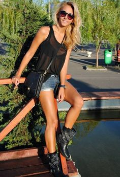 H Shirt Studded Ankle Boots and Denim Shorts