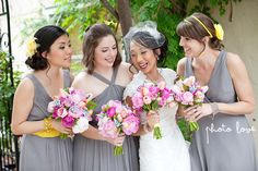 Gray Bridesmaid dresses with yellow accesories