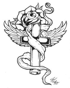 Rose Coloring Pages, Skull Coloring Pages, Free Adult Coloring Pages, Coloring Pages To Print, Coloring Books, Colouring, Cross Tattoo Designs, Tattoo Design Drawings, Art Drawings Sketches Simple