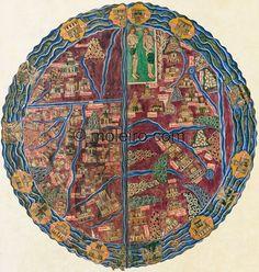 ff.  13v-14r, the world map, Beatus of Liebana, Codex of the Monastery of San Andrés de Arroyo, Palencia