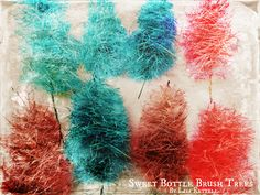 DIY bottle brush trees from scratch. Make your own, then dye with Rit Dye.