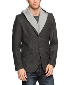 Take a look at this Charcoal Woven Knit Blazer - Men by Desigual on #zulily today! Finally! A great new style blazer for men.