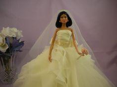 Centerpiece  Miniature Bridal Dress  Barbie Doll  di SewnByMarie, $100.00