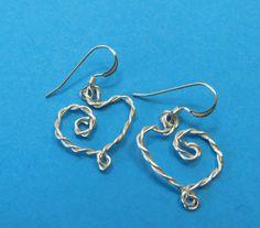Unique Earrings for Girlfriend Gift, Twisted Silver Heart Shaped Earrings, Wire Wrapped Heart Shaped Valentine Earrings