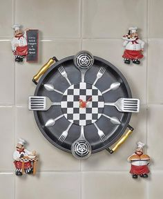 Get a little help during your daily food prep with this Chef Kitchen Collection. Easily keep track of time with the 5-pc. Chef Wall Clock Set. The clock is shaped like a frying pan and has a different