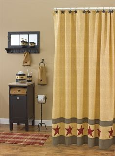 Country decorating at it's best with this Country Star Shower Curtain measuring 72 x 72 from Park Designs. Shown with black star curtain hooks, star towel bar, Primitive Shower Curtains, Cute Shower Curtains, Bathroom Curtains, Curtains Hooks, Downstairs Bathroom, Master Bathroom, Diy Bathroom Decor, Bath Decor, Bathroom Ideas