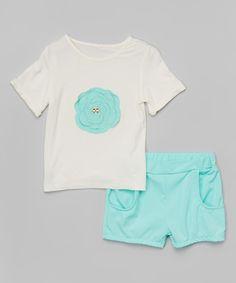 Light Blue Rosette Tee & Shorts - Infant, Toddler & Girls