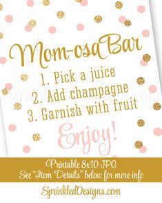 Momosa Bar Sign - Blush Pink Gold Glitter Mom-osa Mimosa Bar Baby Shower Ideas - Baby Girl Sip N See Party Sign - Printable 8x10 Table Sign ★ RE-COLOR/RE-SIZE: https://www.etsy.com/listing/235764069/ ★ PRINTING: https://www.etsy.com/listing/209879690/ ★ RE-COLOR AND PRINT: https://www.etsy.com/listing/236342722/ INSTANT DOWNLOADS ARE FINAL SALES – PLEASE READ CAREFULLY. This listing is for a non-customizable 8x1...