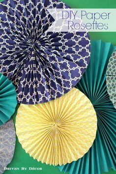 Driven By Décor: DIY Tutorial: How to Make Paper Rosettes (Diy Paper Pinwheels) Diy Party Decorations, Paper Decorations, Birthday Decorations, Paper Room Decor, How To Make Decorations, Diy Paper, Paper Crafts, Diy Crafts, Kitchen Decorating