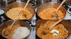 arroz bujarí  ingredientes:  2 tazas de arroz, lavados y escurridos  1 zanahoria grande, pelado y rallado grueso  1 cebolla mediana, picada  1 caja (enlatado) de garbanzos - lavado y el filtro  3 cucharadas de aceite para freír  Sal y pimienta-sopa de mezcla  gafas de tres y medio de agua pura  -