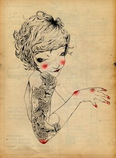 """Tattoo girl"" by Anita Goldstein; Pencil, Drawing"