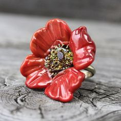Lampwork Ring Flower Ring Poppy Lampwork by JewelryBeadsByKatie