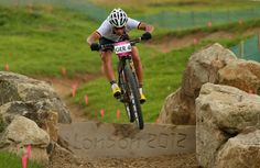 A rider from Germany in action during a Mountain Bike training session on Day 12 of the London 2012 Olympic Games at Hadleigh Farm on August...