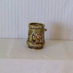 Vintage Ceramic Green Instant Coffee Tea Jar Raised Fruit Pattern Made In Japan #unknown