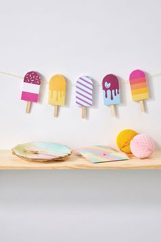 Issue 93 comes with a free kit containing everything you need to craft 10 of Angela Poole's paper ice lollies, including a wooden template, colourful papers and ice lolly sticks (just like the real thing). Make the mini treats and add them to string to create a refreshing summer garland.