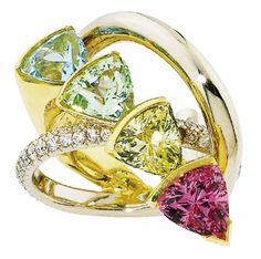 Green garnet.Aquamarine,Yellow Beryl and Pink Tourmalin.