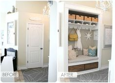 entryway closet makeover with a storage nook, bench with drawers, a shelf with hooks and storage, and baskets