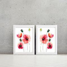 Watercolor Poppy Flower Art - Home Decor - Bathroom Art. Bath Decor. Bedroom…