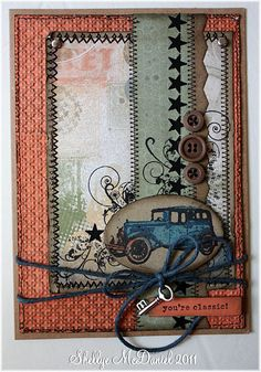 Masculine Card-Look at all those nice swirls that you could quill, not to speak of the cute car!