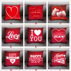 Pillow Case Red Valentine Day Decoration Cushion Cover Polyester Heart I LOVE YOU Print Pillow Cover For Couple Home Decor – Valentinstag Valentines Day Background, Valentines Day Activities, Valentines Day Gifts For Him, Valentine Special, Valentines Day Decorations, Be My Valentine, Cute Pillows, Baby Pillows, Aladdin