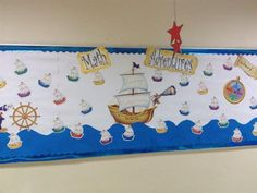 Nautical Themed Interactive Math Bulletin Board Idea #independence #flag #classroom