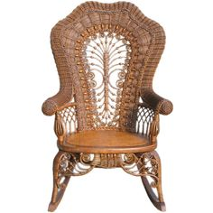 VICTORIAN WICKER ROCKING CHAIR ❤ liked on Polyvore featuring home, furniture, chairs, accent chairs, victorian wicker furniture, roses furniture, victorian rocking chair, victorian era furniture and ornate furniture
