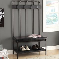 bench charcoal grey metal hall entry by monarch